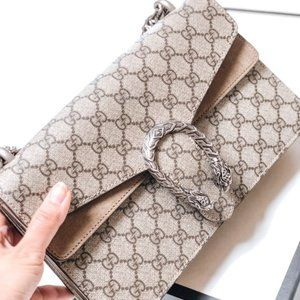 New Gucci Dionysus GG Supreme Mini Bag canvas shou